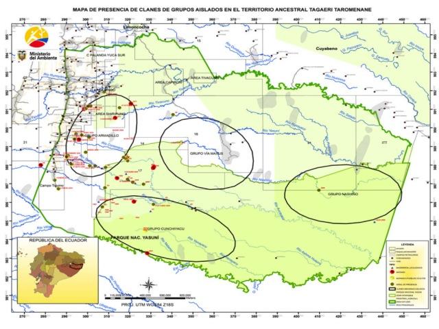 Mapa oficial de los clanes de indígenas aislados. Fuente: Ministerio del Ambiente